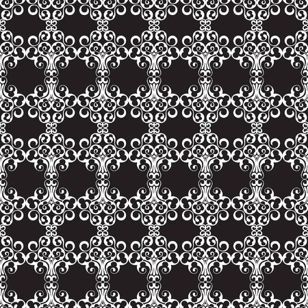 classic contrast: white pattern on a black background. seamless pattern