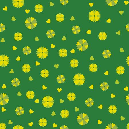 stylize: Green background with yellow flowers and hearts. Seamless pattern