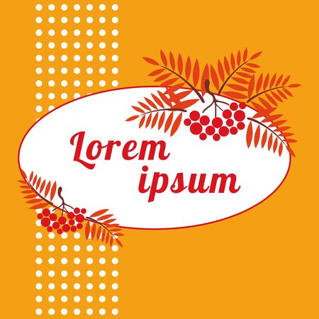 raceme: autumn frame with orange ripe sprigs of Rowan.