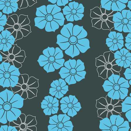 blue silhouettes: seamless Wallpaper with blue silhouettes and white outlines of flowers.vector illustration