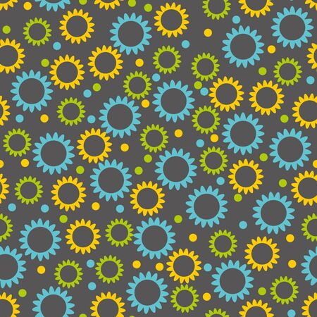 dark blue background: Wallpaper seamless abstract multicolored small flowers on a dark gray background .vector illustration