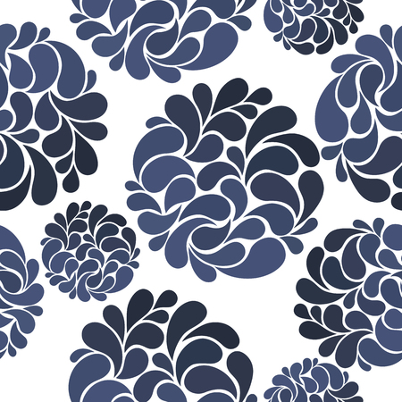 gzhel: seamless pattern of abstract flowers in Gzhel style.vector illustration Illustration