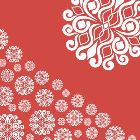 rime frost: abstract illustration with snowflakes on red background.vector illustration Illustration