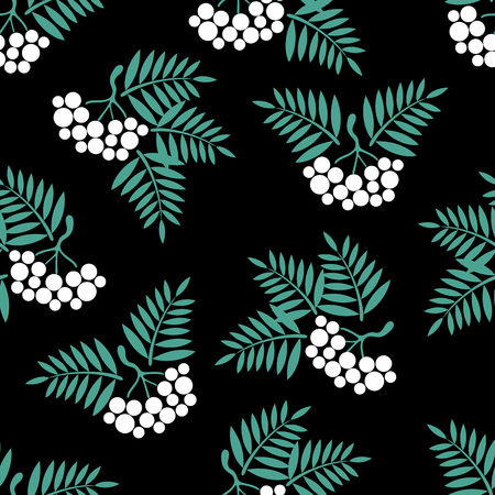 ashberry: seamless background with Rowan brush on a black background.vector illustration