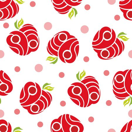 abstract food: seamless abstract pattern red apples on a white background Stock Photo