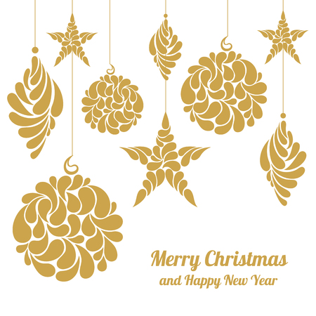 christmas decorations star sphere diamond merry christmas and happy new yearvector - Merry Christmas Decorations