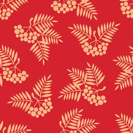ashberry: seamless background with Rowan brush on a Burgundy background.vector illustration