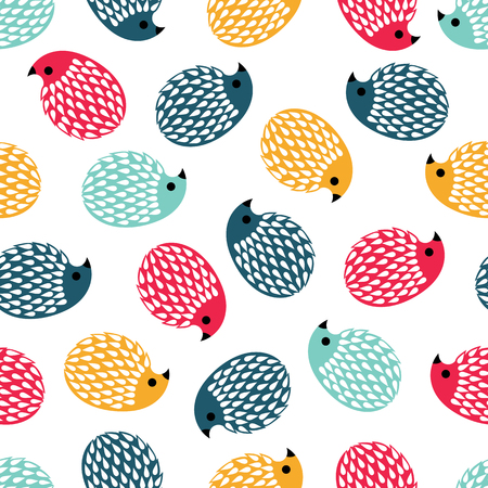 seamless background. colored hedgehogs on a white background.vector illustration