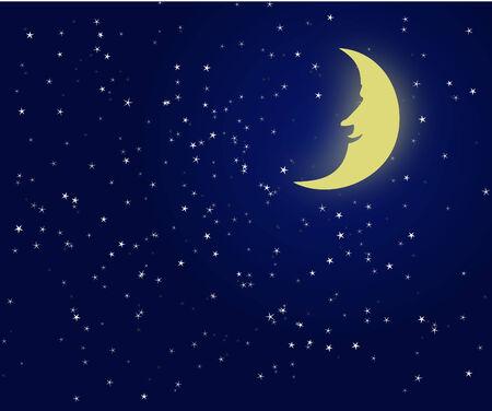Ilustración de un cielo nocturno con luna fantástica