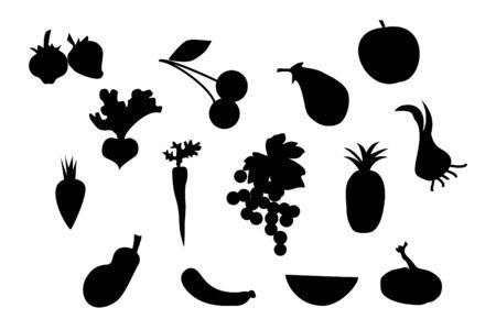 Set van vector van groenten en fruit silhouet Vector Illustratie