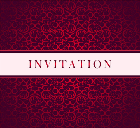 Invitation red ornament card