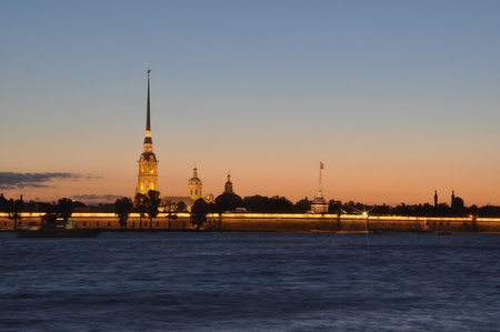 White nights in Saint Petersburg, Russia