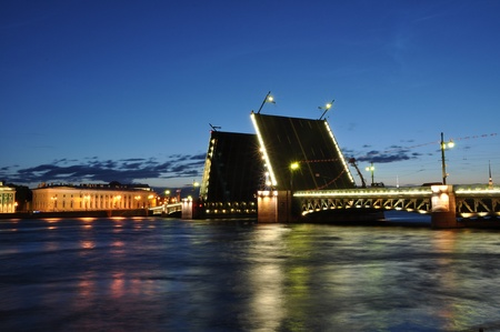 Neva river at night, Saint Petersburg, Russia photo