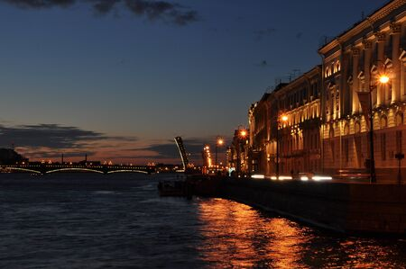 nightscene: Neva river at night, Saint Petersburg, Russia
