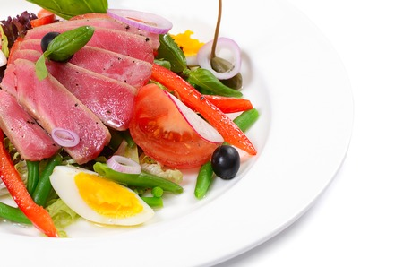 Nicoise with fresh tuna and vegetables photo