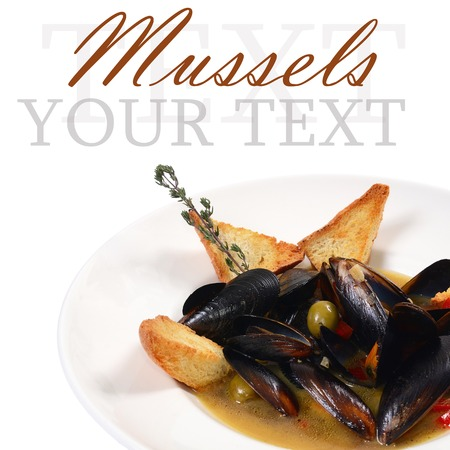 The mussels Tuscan with crispy ciabatta isolated photo