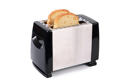 The silver toaster isolated on white  Archivio Fotografico