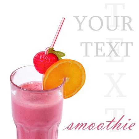 Freshening strawberry smoothie  isolated on white  photo