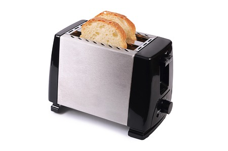 The silver toaster isolated on white background