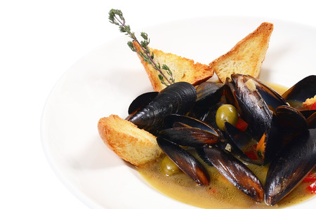 Mussels Tuscan with crispy ciabatta photo