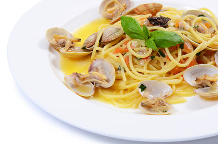 italy food: Spaghetti with mussels in bowls close up