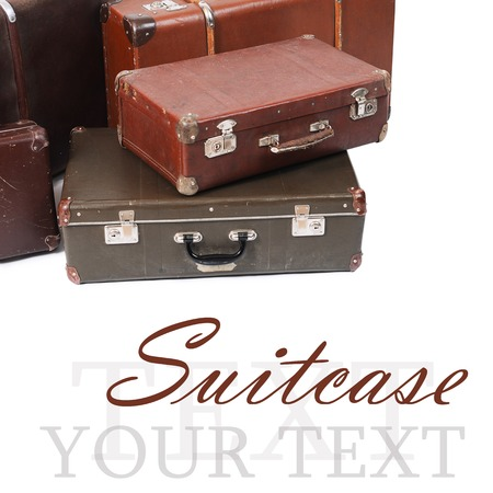 The old suitcase isolated on white background photo
