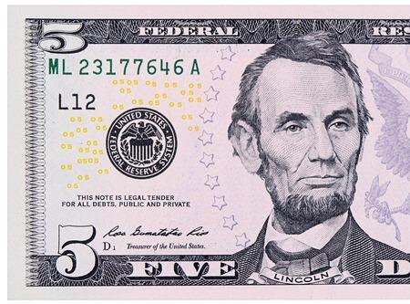dollaro: I cinque dollari isolati su sfondo bianco Archivio Fotografico