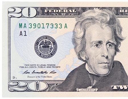 The twenty dollars isolated on white background photo