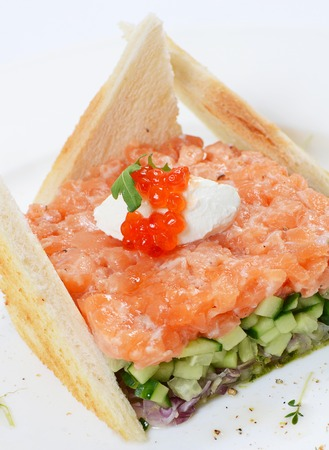 The tartar with salmon and cucumber macro photo