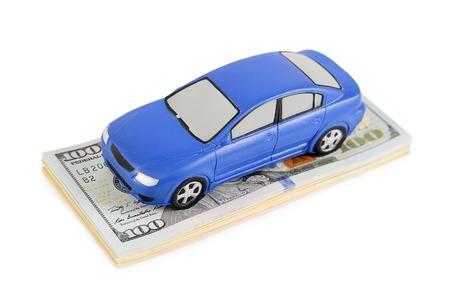 car model on dollar bills. Business concept photo