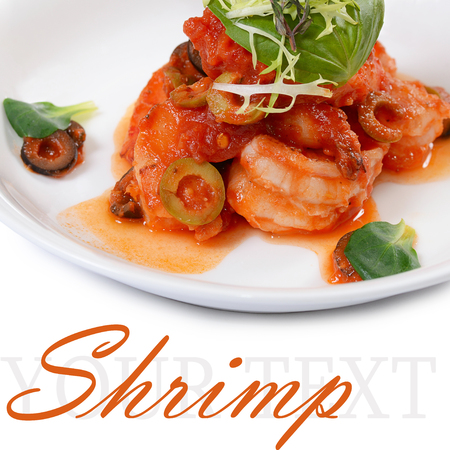 The shrimps in tomato sauce with olives photo