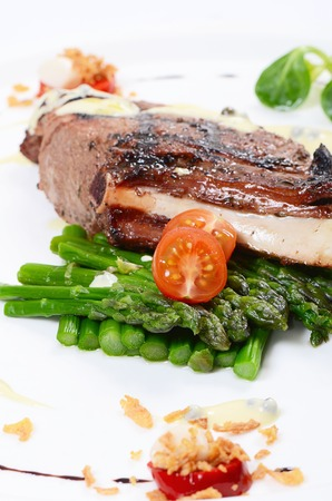 Rack of lamb grill with an asparagus photo