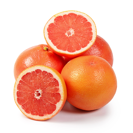 The bright grapefruit isolated on white background photo