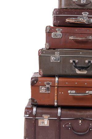 The old suitcase isolated on white background photo