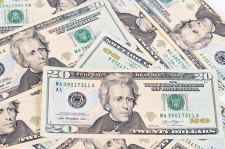 hundred dollar bill: The dollar banknotes as a background close-up Stock Photo