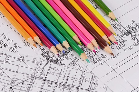 Projects of houses with a color pencil Archivio Fotografico