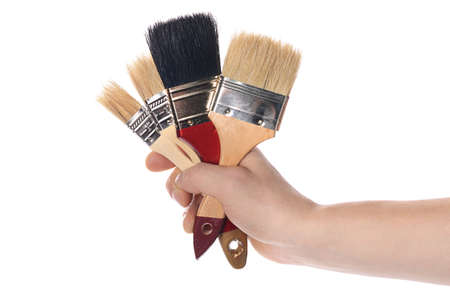 brush in: Whitewashing brush in a mans hand  isolated