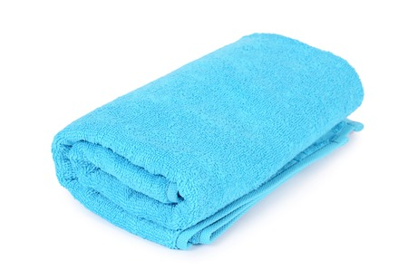 The blue towel isolated on white background