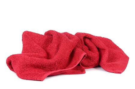 The red towel isolated on white background