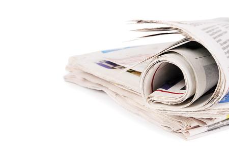 oude krant: De gecombineerde kranten geïsoleerd op een witte achtergrond Stockfoto
