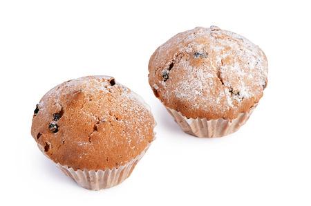fruitcake: Fruitcake with raisin isolated on white background