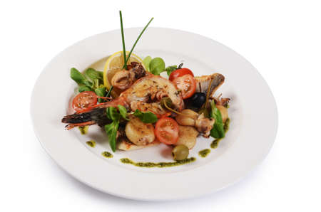 The fried seafood with vegetables close up photo
