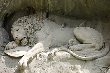 Statue of a dying lion in Lucerne Stock Photo