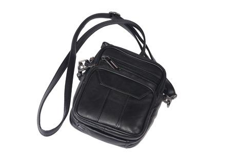 mans: mans leather black bag isolated on white