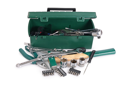mechanic tools: Box with construction tools isolated on white Stock Photo