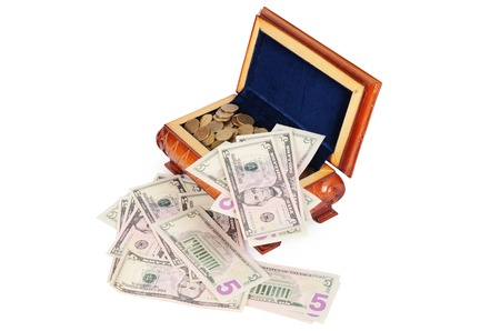czech republic coin: Coins and banknotes in the box isolated Stock Photo