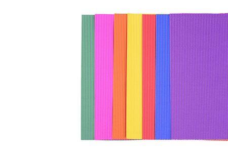 papier lettre: Set papier couleur cr�pe isol� sur blanc