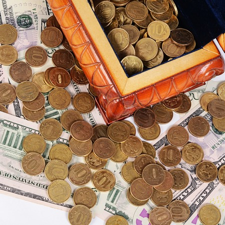 czech republic coin: Coins and banknotes in the box close-up