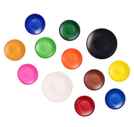 paints: Round watercolor paints isolated on white background