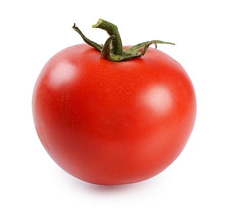 ensalada tomate: Tomate fresco rojo aislado sobre fondo blanco Foto de archivo